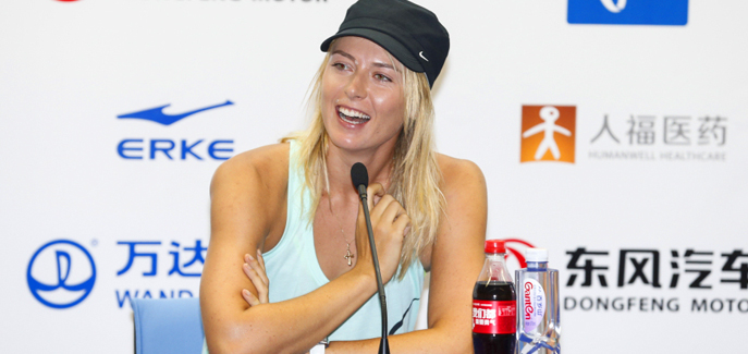 Maria Sharapova attends the pre-match press conference