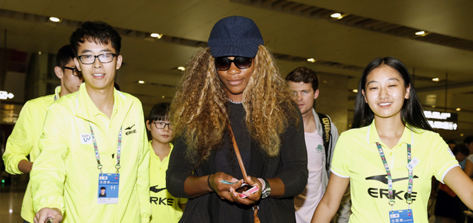 Serena Williams arrives at airport