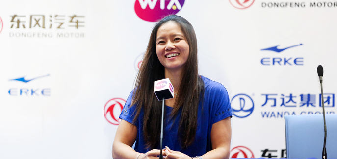 Li Na attends press conference in the stadium of Wuhan Open